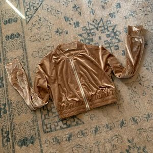 Tops - Champagne velvet cropped track style jacket M tan